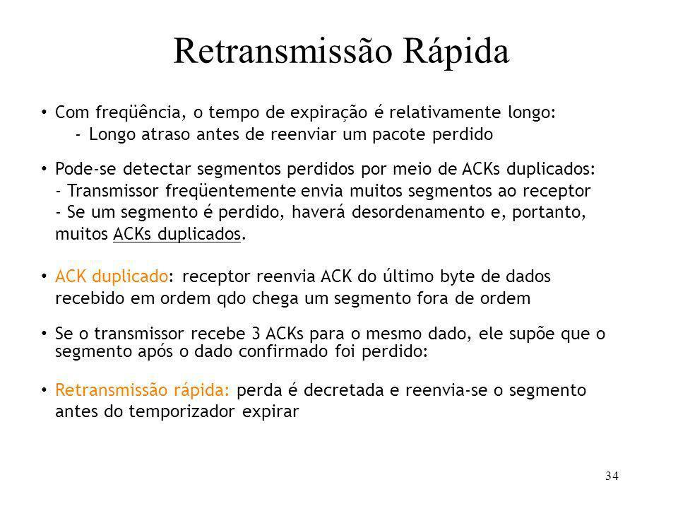 34 TCP AIMD Retransmissão Rápida Com freqüência, o tempo de expiração é relativamente longo: -Longo atraso antes de reenviar um pacote perdido Pode-se