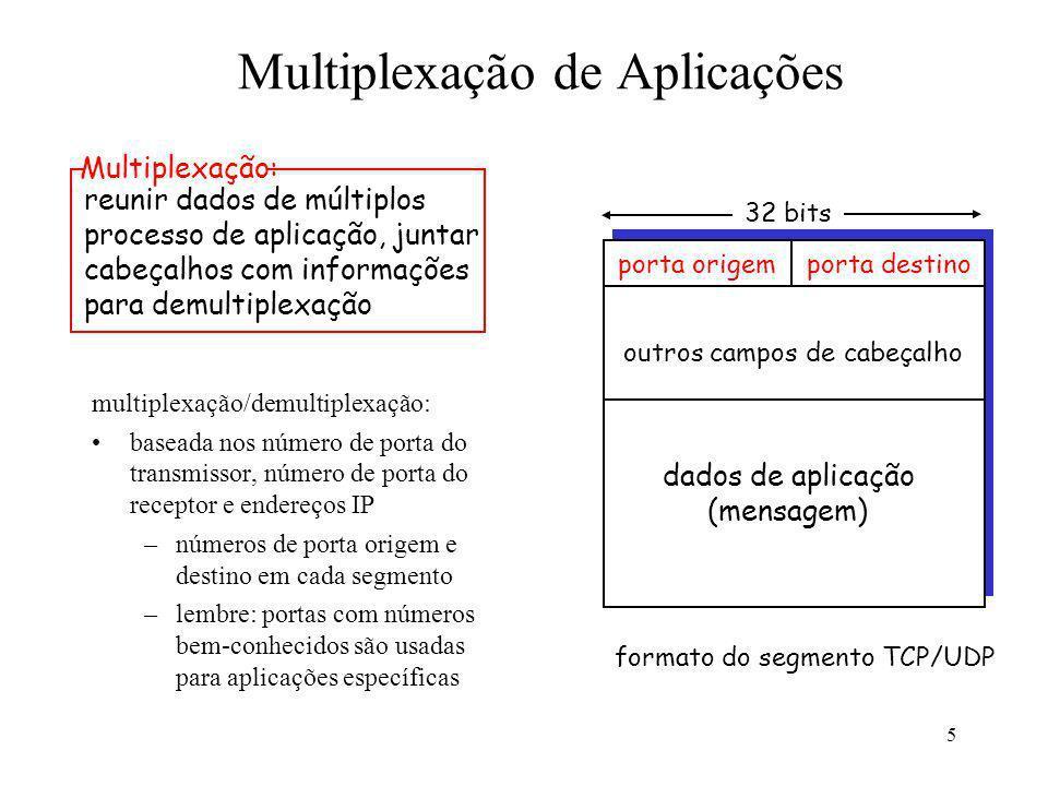 5 Multiplexação de Aplicações multiplexação/demultiplexação: baseada nos número de porta do transmissor, número de porta do receptor e endereços IP –n
