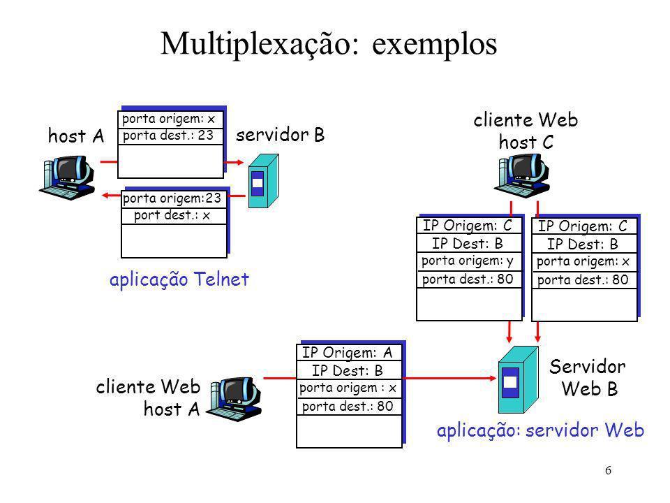 6 Multiplexação: exemplos host A servidor B porta origem: x porta dest.: 23 porta origem:23 port dest.: x aplicação Telnet cliente Web host A Servidor