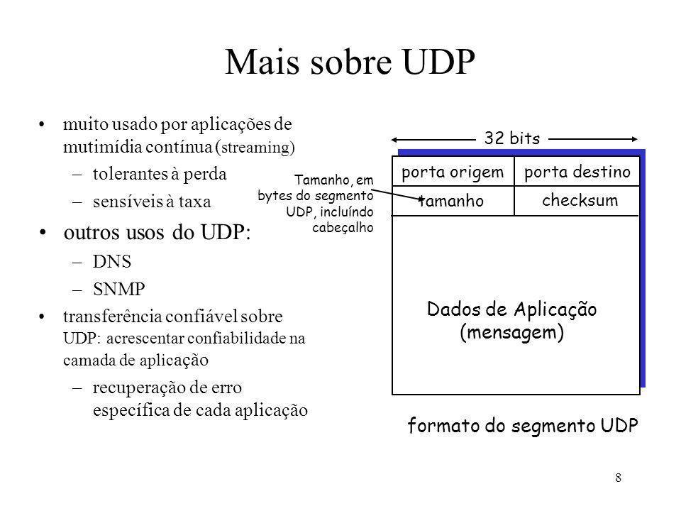 8 Mais sobre UDP muito usado por aplicações de mutimídia contínua ( streaming) –tolerantes à perda –sensíveis à taxa outros usos do UDP: –DNS –SNMP tr