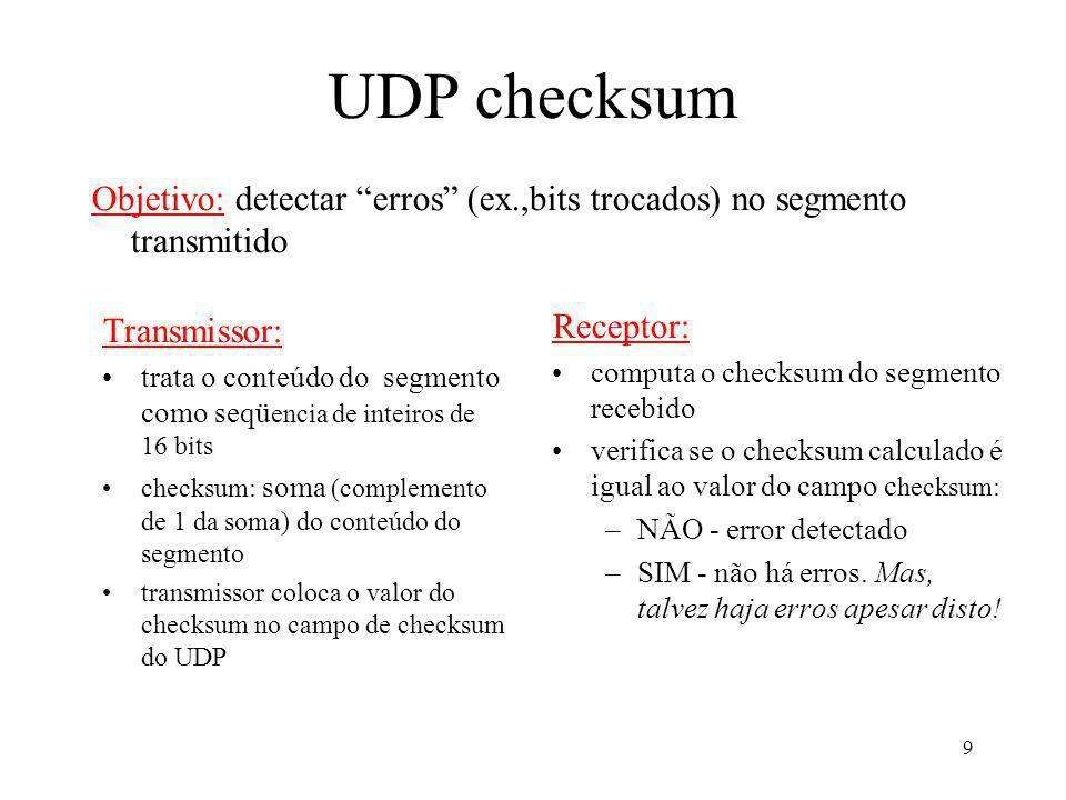 9 UDP checksum Transmissor: trata o conteúdo do segmento como seqü encia de inteiros de 16 bits checksum: soma (complemento de 1 da soma) do conteúdo