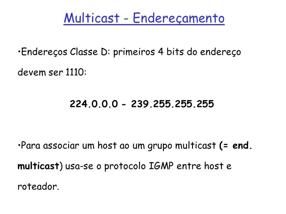 Multicast - Endereçamento Endereços Classe D: primeiros 4 bits do endereço devem ser 1110: 224.0.0.0 - 239.255.255.255 Para associar um host ao um gru