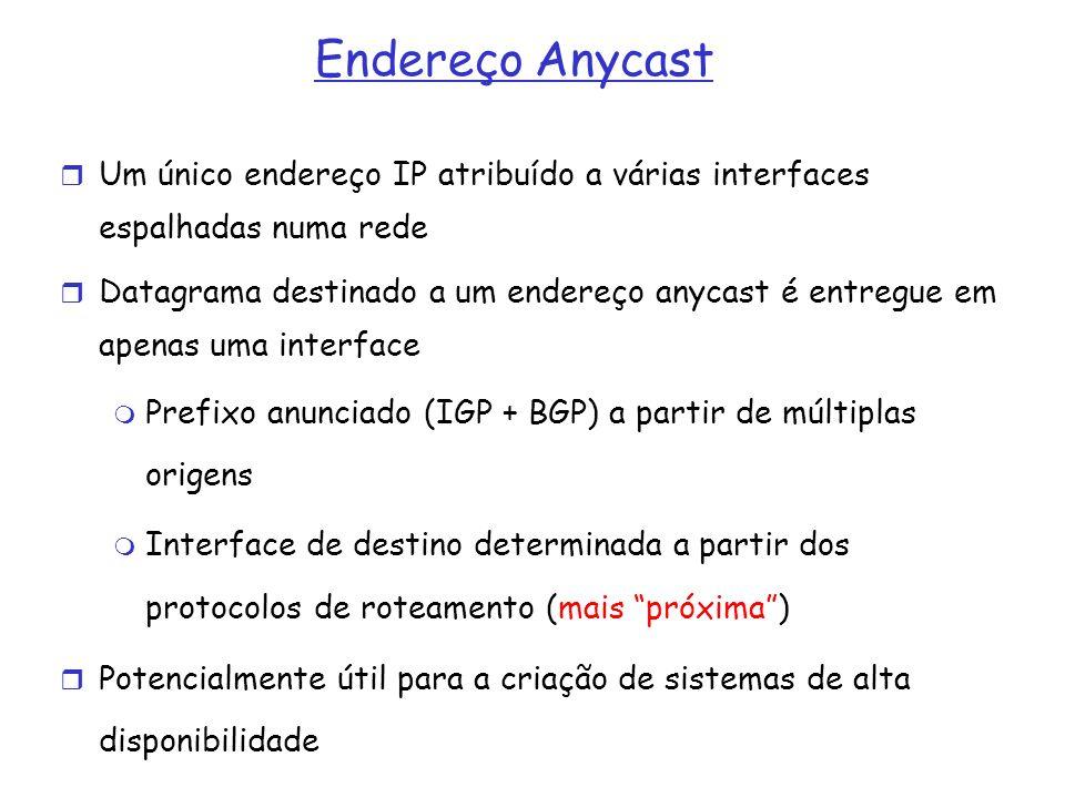 Endereço Anycast Um único endereço IP atribuído a várias interfaces espalhadas numa rede Datagrama destinado a um endereço anycast é entregue em apena