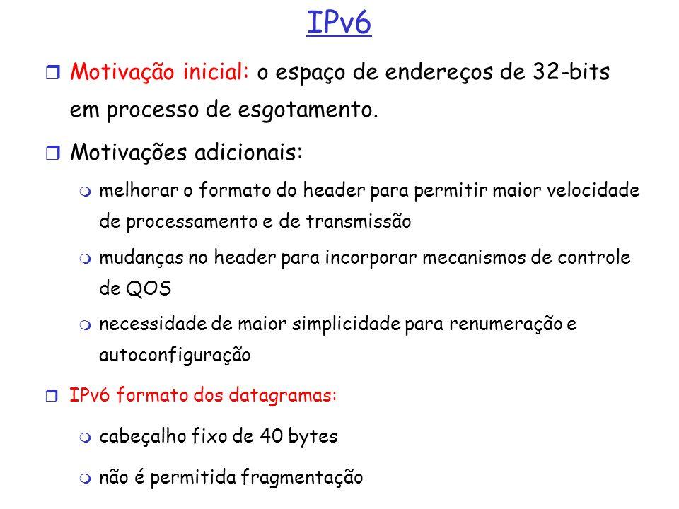 IPv6 Motivação inicial: o espaço de endereços de 32-bits em processo de esgotamento. Motivações adicionais: melhorar o formato do header para permitir