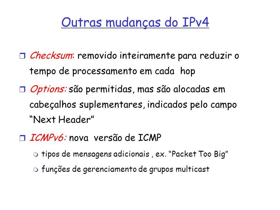Outras mudanças do IPv4 Checksum: removido inteiramente para reduzir o tempo de processamento em cada hop Options: são permitidas, mas são alocadas em