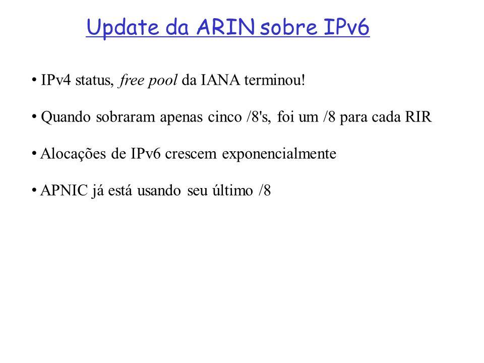 Update da ARIN sobre IPv6 IPv4 status, free pool da IANA terminou! Quando sobraram apenas cinco /8's, foi um /8 para cada RIR Alocações de IPv6 cresce