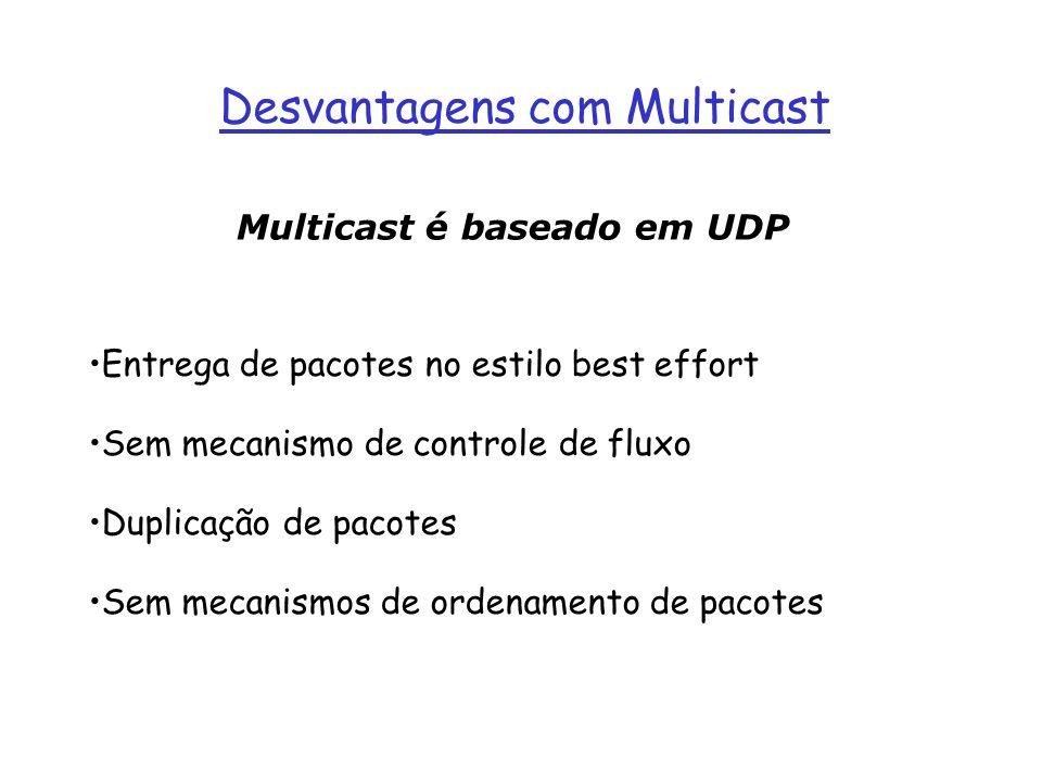 Desvantagens com Multicast Entrega de pacotes no estilo best effort Sem mecanismo de controle de fluxo Duplicação de pacotes Sem mecanismos de ordenam