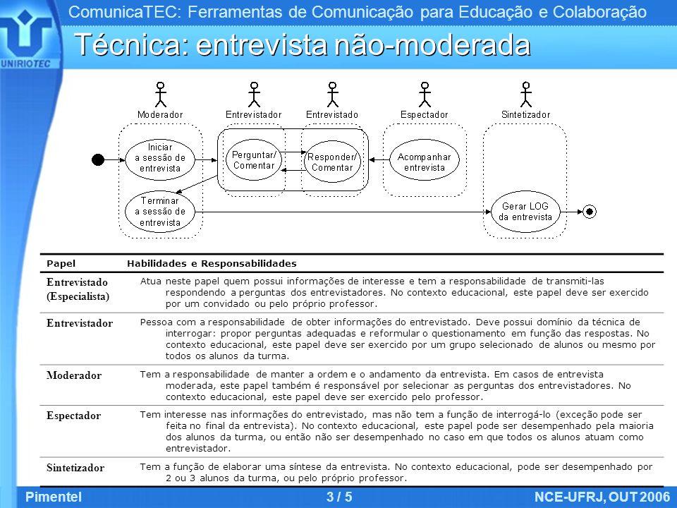 ComunicaTEC: Ferramentas de Comunicação para Educação e Colaboração Pimentel3 / 5NCE-UFRJ, OUT 2006 Técnica: entrevista não-moderada PapelHabilidades