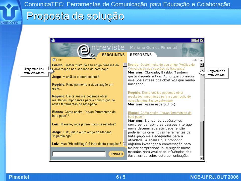 ComunicaTEC: Ferramentas de Comunicação para Educação e Colaboração Pimentel6 / 5NCE-UFRJ, OUT 2006 Proposta de solução Respostas do entrevistado Perg