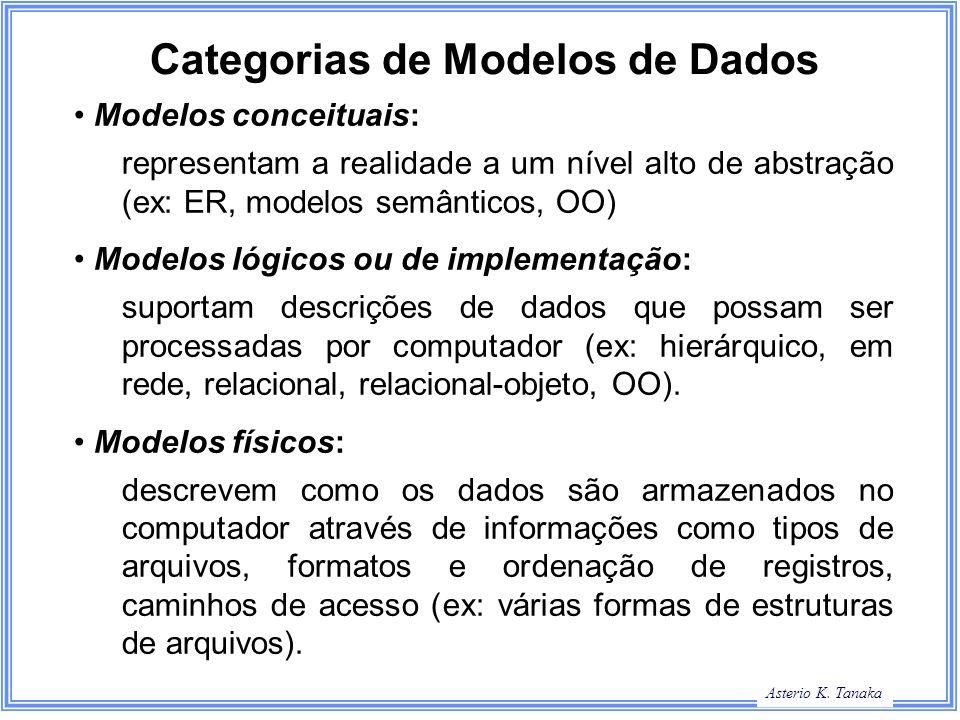 Asterio K. Tanaka Categorias de Modelos de Dados Modelos conceituais: representam a realidade a um nível alto de abstração (ex: ER, modelos semânticos