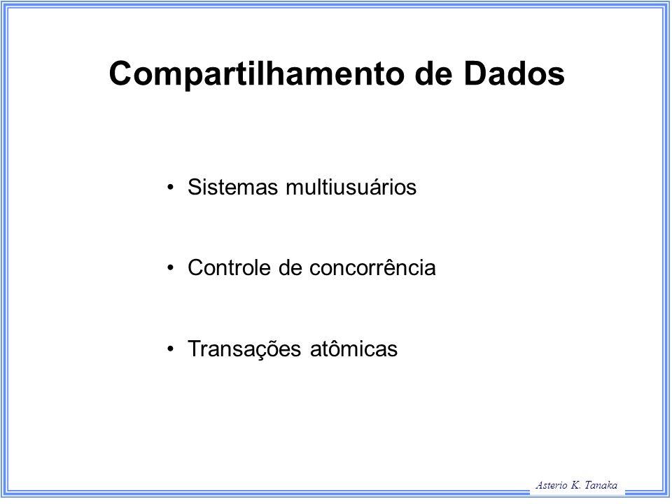 Asterio K. Tanaka Compartilhamento de Dados Sistemas multiusuários Controle de concorrência Transações atômicas