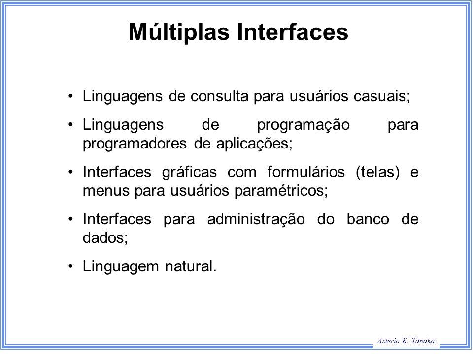 Asterio K. Tanaka Múltiplas Interfaces Linguagens de consulta para usuários casuais; Linguagens de programação para programadores de aplicações; Inter