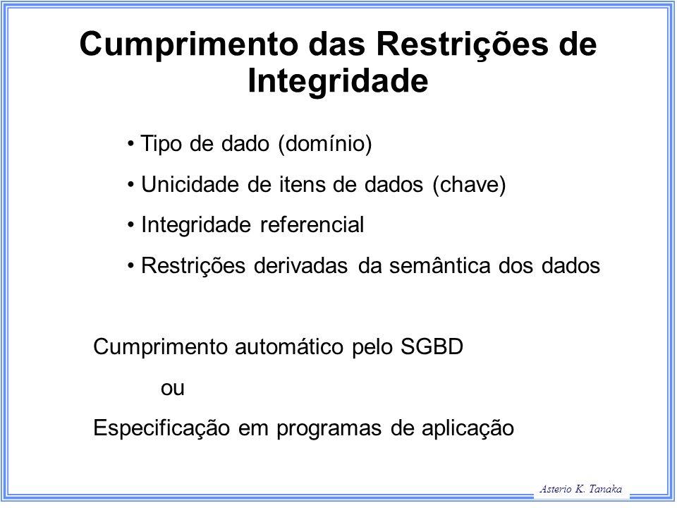 Asterio K. Tanaka Cumprimento das Restrições de Integridade Tipo de dado (domínio) Unicidade de itens de dados (chave) Integridade referencial Restriç