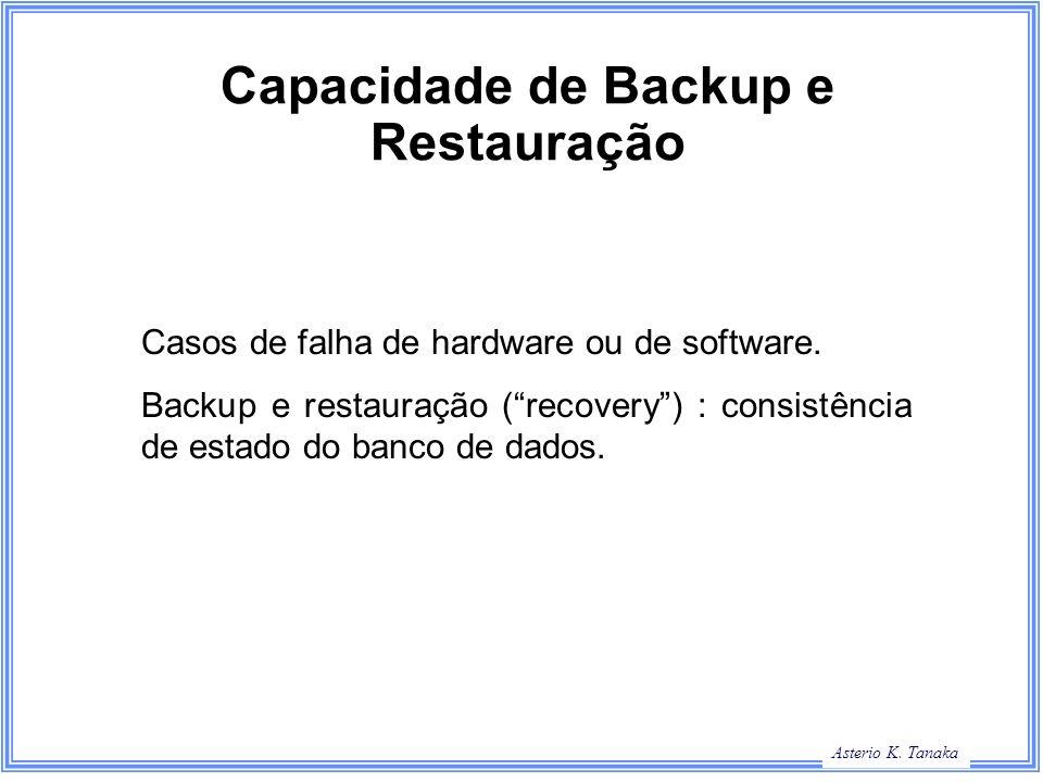 Asterio K. Tanaka Capacidade de Backup e Restauração Casos de falha de hardware ou de software. Backup e restauração (recovery) : consistência de esta