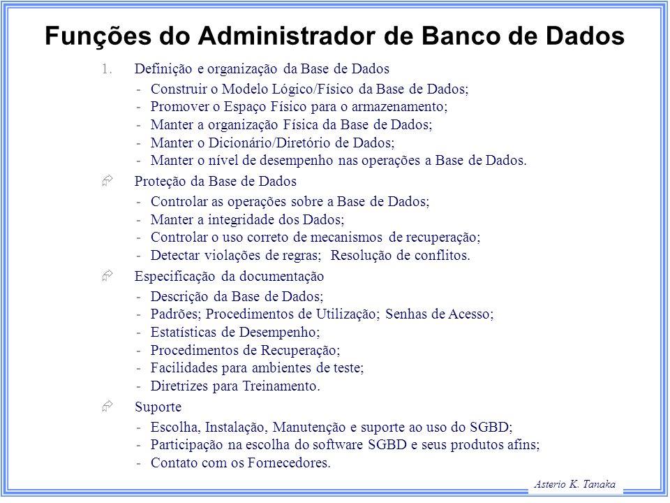 Asterio K. Tanaka Funções do Administrador de Banco de Dados 1.Definição e organização da Base de Dados - Construir o Modelo Lógico/Físico da Base de