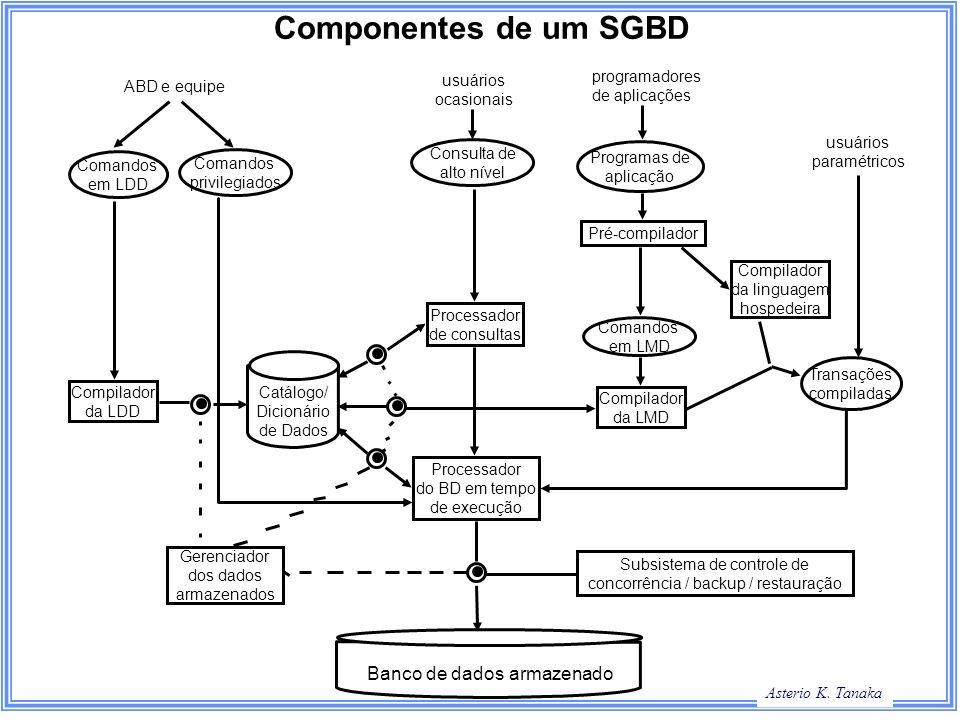 Asterio K. Tanaka Componentes de um SGBD Comandos em LDD Comandos privilegiados Consulta de alto nível Programas de aplicação Comandos em LMD Transaçõ