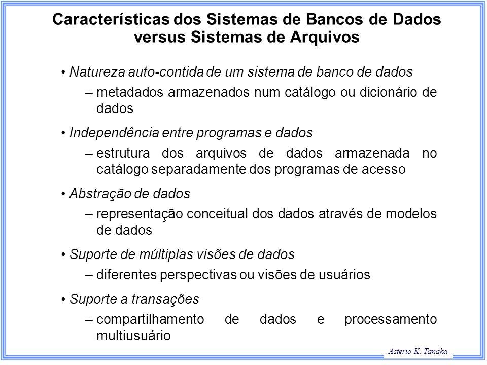 Asterio K. Tanaka Características dos Sistemas de Bancos de Dados versus Sistemas de Arquivos Natureza auto-contida de um sistema de banco de dados –m