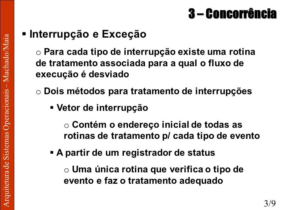 Arquitetura de Sistemas Operacionais – Machado/Maia 3 – Concorrência Interrupção e Exceção o Para cada tipo de interrupção existe uma rotina de tratam