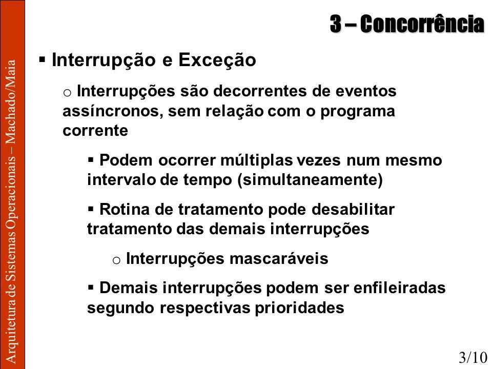 Arquitetura de Sistemas Operacionais – Machado/Maia 3 – Concorrência Interrupção e Exceção o Interrupções são decorrentes de eventos assíncronos, sem