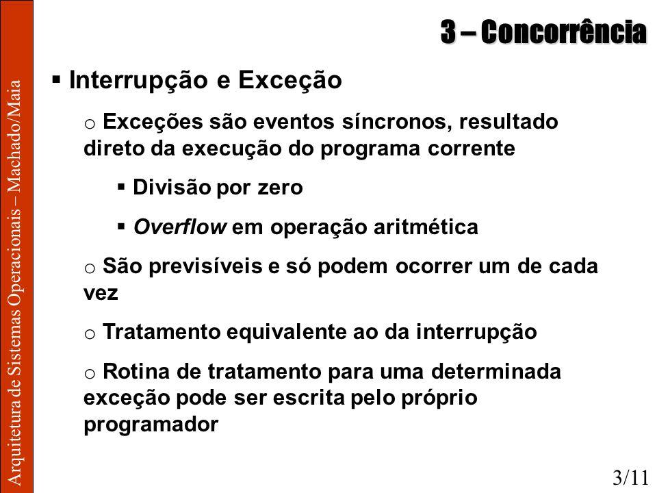 Arquitetura de Sistemas Operacionais – Machado/Maia 3 – Concorrência Interrupção e Exceção o Exceções são eventos síncronos, resultado direto da execu