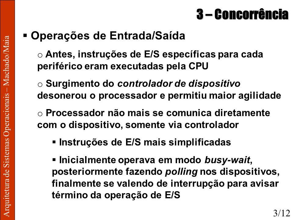 Arquitetura de Sistemas Operacionais – Machado/Maia 3 – Concorrência Operações de Entrada/Saída o Antes, instruções de E/S específicas para cada perif