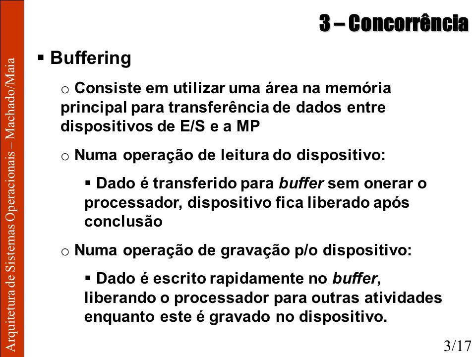 Arquitetura de Sistemas Operacionais – Machado/Maia 3 – Concorrência Buffering o Consiste em utilizar uma área na memória principal para transferência