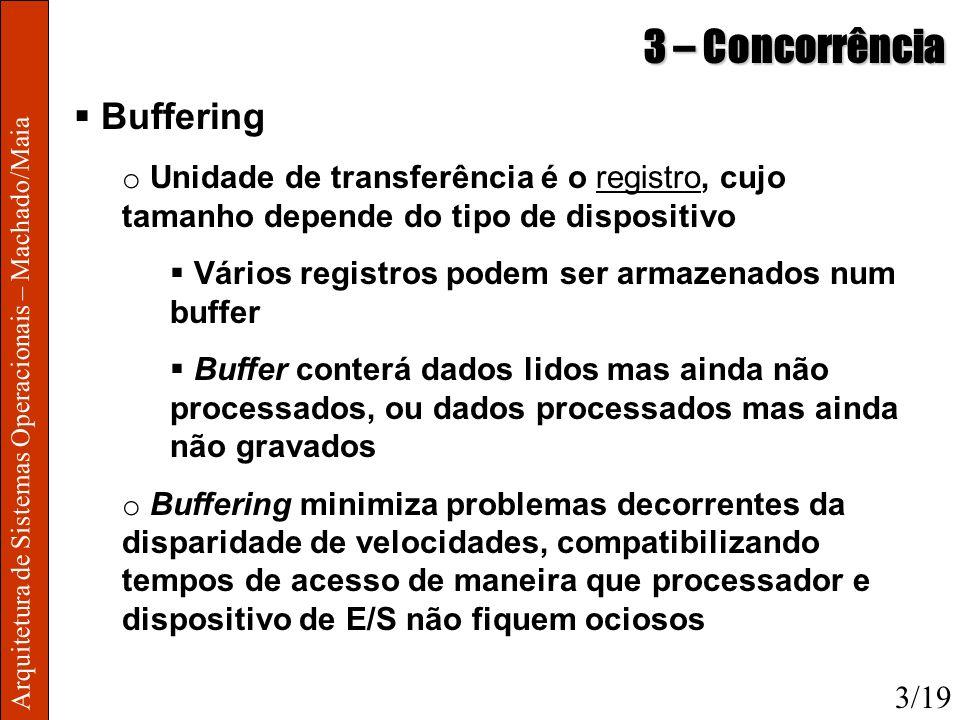 Arquitetura de Sistemas Operacionais – Machado/Maia 3 – Concorrência Buffering o Unidade de transferência é o registro, cujo tamanho depende do tipo d
