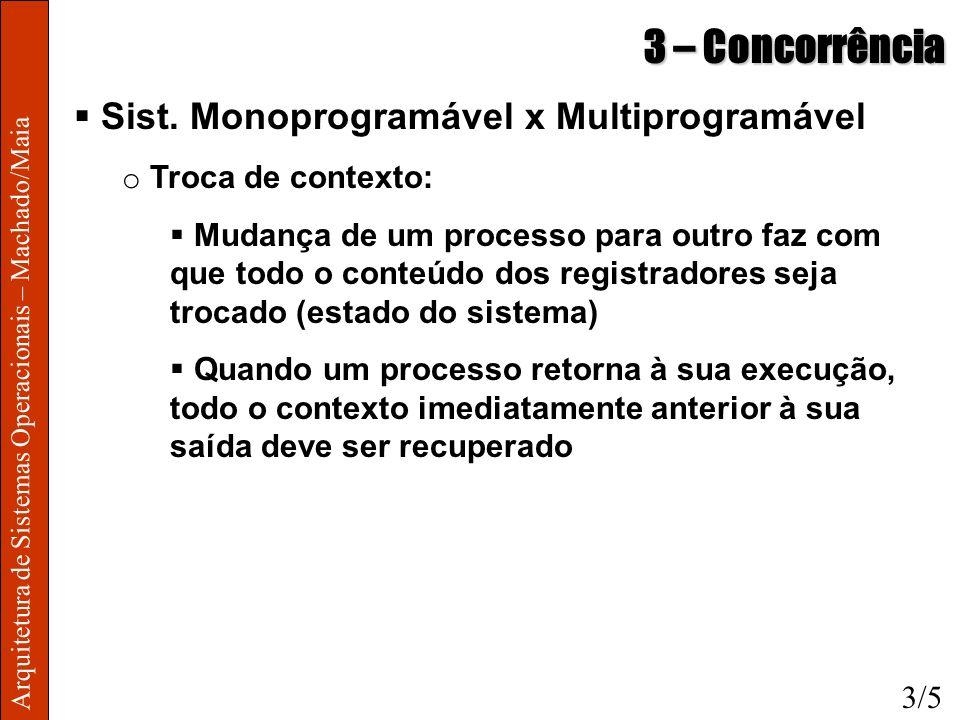 Arquitetura de Sistemas Operacionais – Machado/Maia 3 – Concorrência Sist. Monoprogramável x Multiprogramável o Troca de contexto: Mudança de um proce