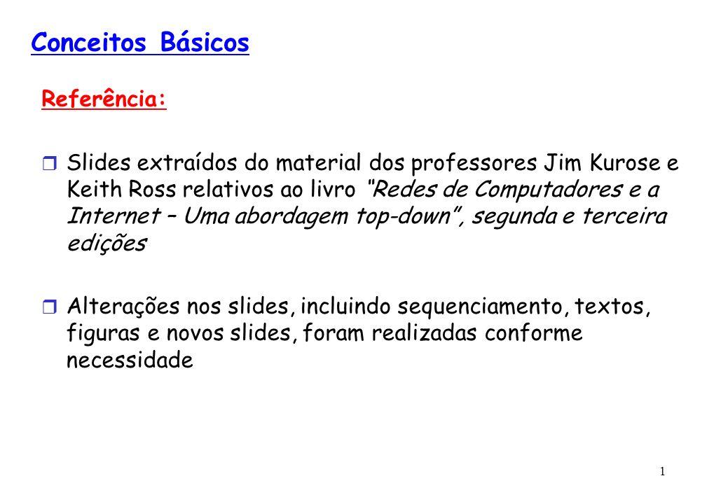 1 Conceitos Básicos Referência: Slides extraídos do material dos professores Jim Kurose e Keith Ross relativos ao livro Redes de Computadores e a Inte