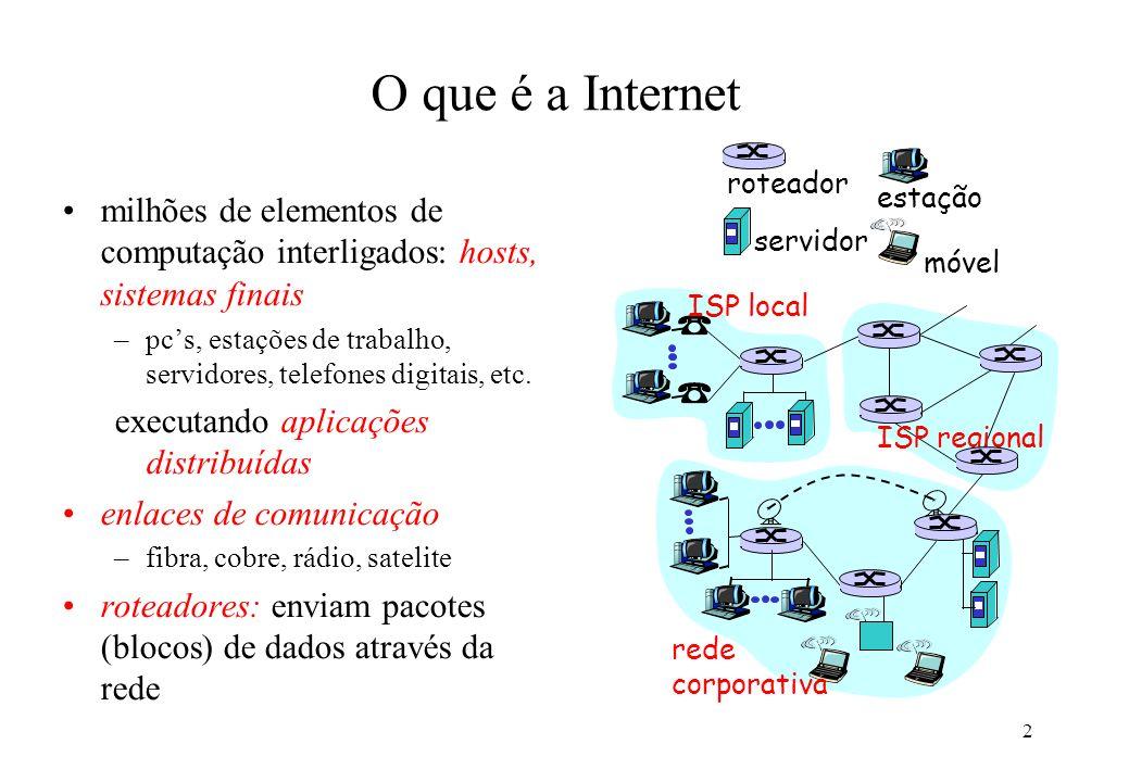 3 O que é a Internet protocolos: controlam o envio e a recepção de mensagens –e.g., TCP, IP, HTTP, FTP, PPP Internet: rede de redes –fracamente hierárquica –Internet pública e Internets privadas (intranets) Internet standards –RFC: Request for comments –IETF: Internet Engineering Task Force ISP local rede corporativa ISP regional routeador estação servidor móvel