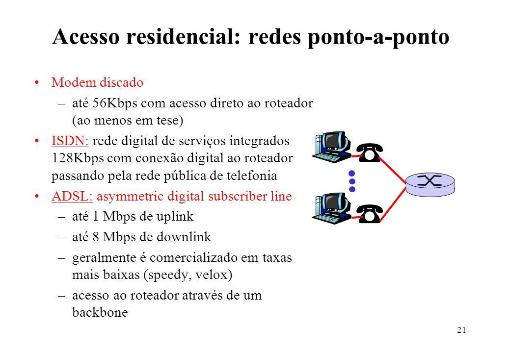21 Acesso residencial: redes ponto-a-ponto Modem discado –até 56Kbps com acesso direto ao roteador (ao menos em tese) ISDN: rede digital de serviços i