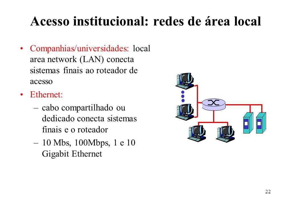 22 Acesso institucional: redes de área local Companhias/universidades: local area network (LAN) conecta sistemas finais ao roteador de acesso Ethernet