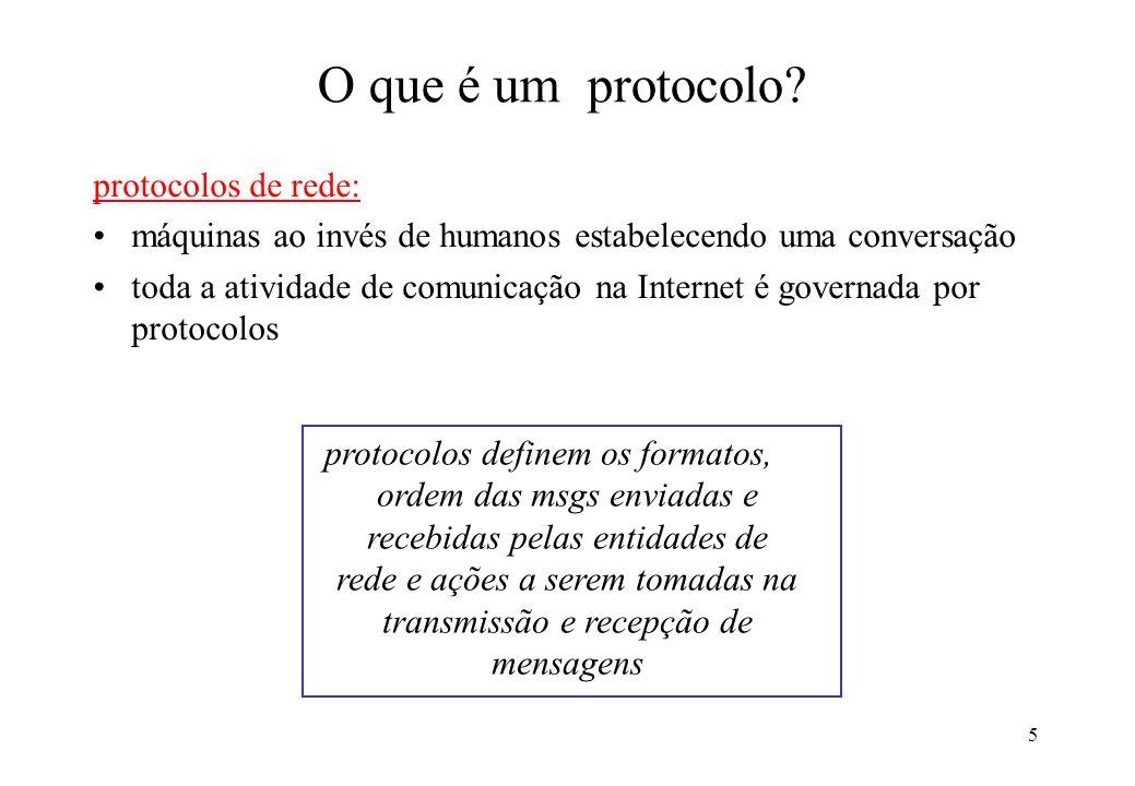 5 O que é um protocolo? protocolos de rede: máquinas ao invés de humanos estabelecendo uma conversação toda a atividade de comunicação na Internet é g