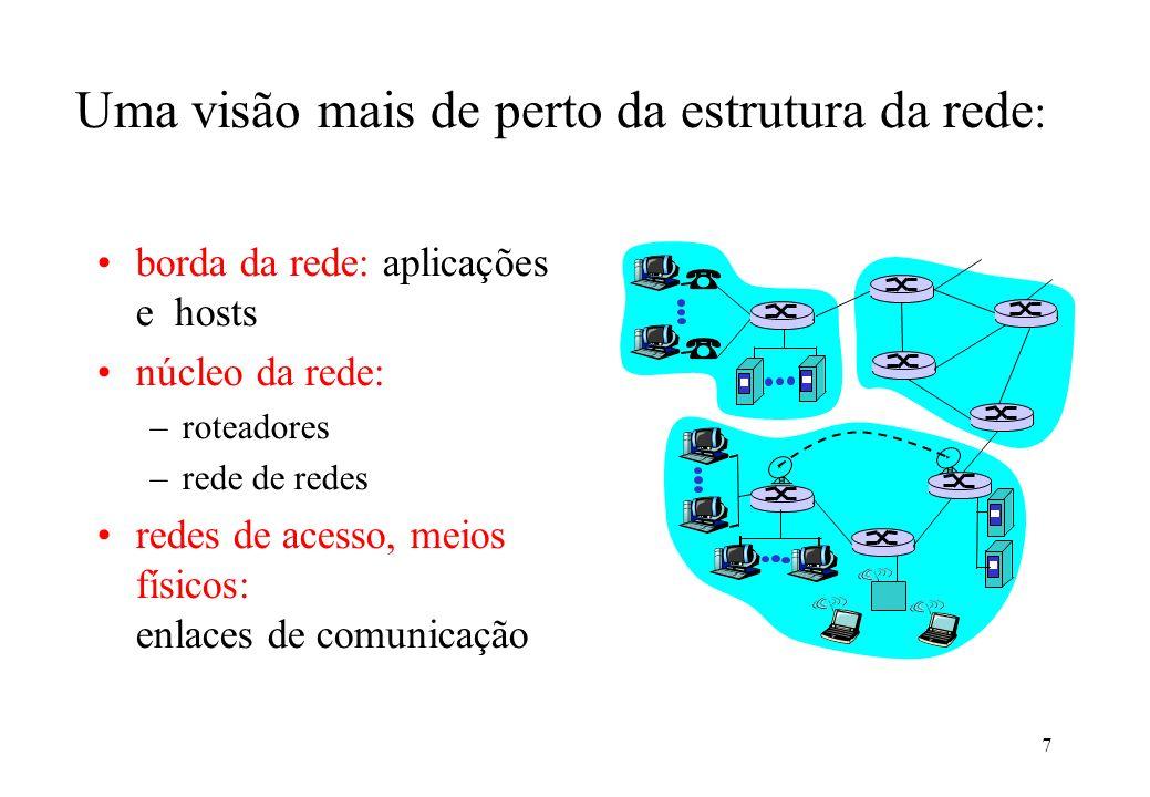 7 Uma visão mais de perto da estrutura da rede : borda da rede: aplicações e hosts núcleo da rede: –roteadores –rede de redes redes de acesso, meios f