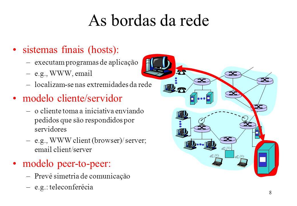8 As bordas da rede sistemas finais (hosts): –executam programas de aplicação –e.g., WWW, email –localizam-se nas extremidades da rede modelo cliente/