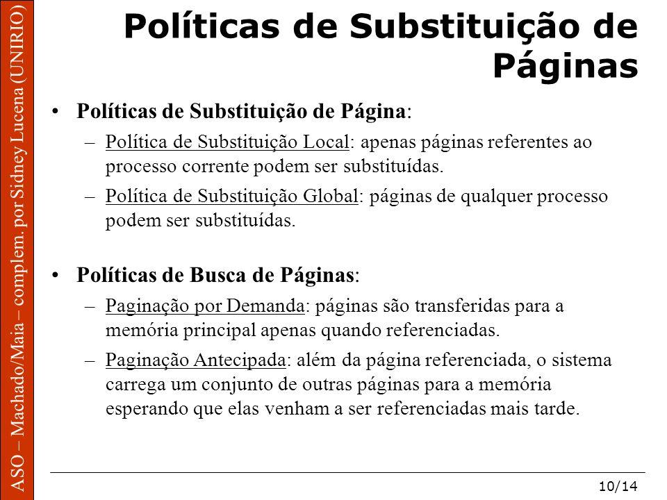 ASO – Machado/Maia – complem. por Sidney Lucena (UNIRIO) 10/14 Políticas de Substituição de Páginas Políticas de Substituição de Página: –Política de