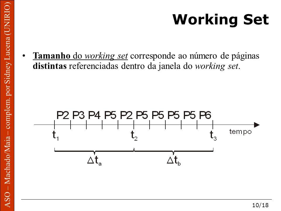 ASO – Machado/Maia – complem. por Sidney Lucena (UNIRIO) 10/18 Working Set Tamanho do working set corresponde ao número de páginas distintas referenci