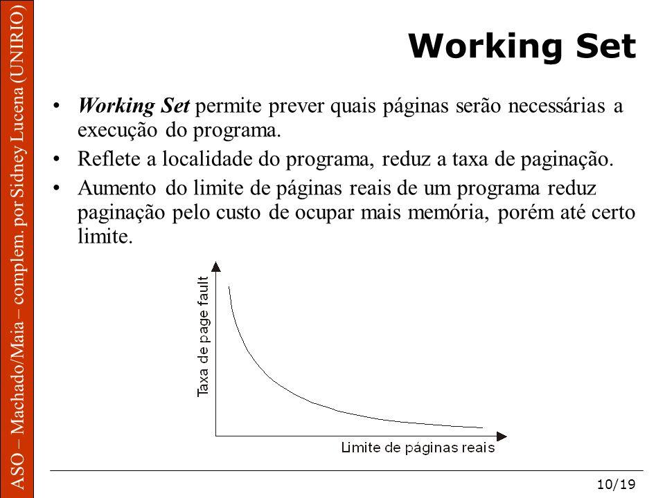 ASO – Machado/Maia – complem. por Sidney Lucena (UNIRIO) 10/19 Working Set Working Set permite prever quais páginas serão necessárias a execução do pr