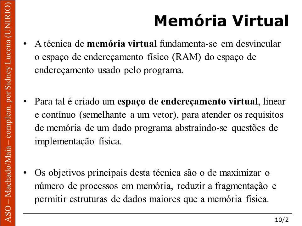 ASO – Machado/Maia – complem. por Sidney Lucena (UNIRIO) 10/2 Memória Virtual A técnica de memória virtual fundamenta-se em desvincular o espaço de en