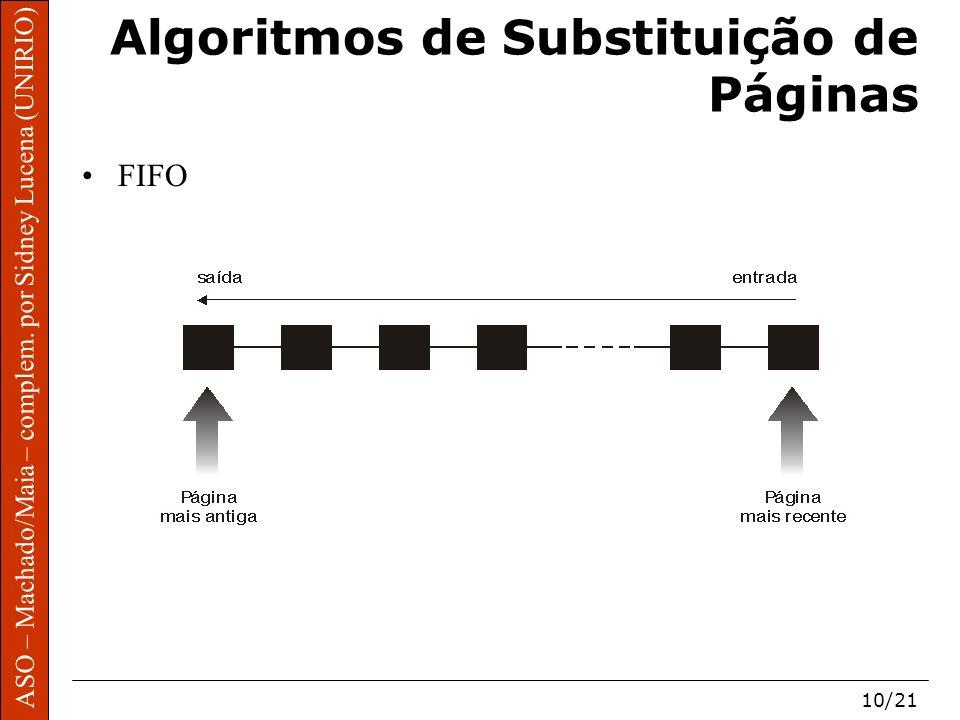 ASO – Machado/Maia – complem. por Sidney Lucena (UNIRIO) 10/21 Algoritmos de Substituição de Páginas FIFO
