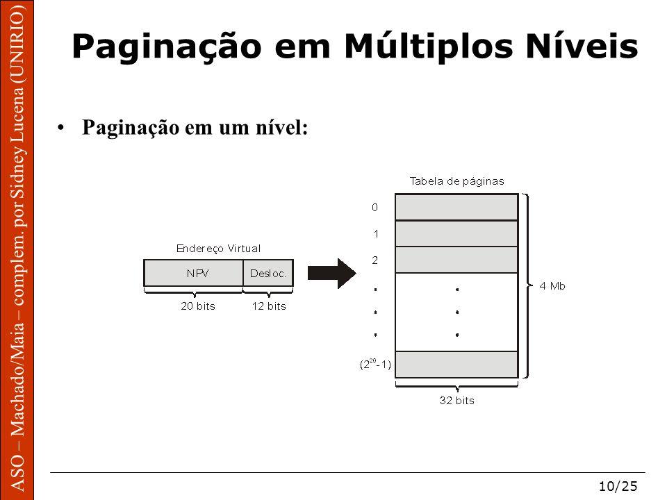 ASO – Machado/Maia – complem. por Sidney Lucena (UNIRIO) 10/25 Paginação em Múltiplos Níveis Paginação em um nível: