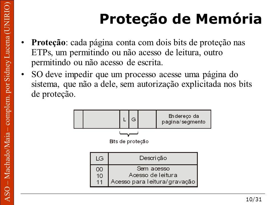 ASO – Machado/Maia – complem. por Sidney Lucena (UNIRIO) 10/31 Proteção de Memória Proteção: cada página conta com dois bits de proteção nas ETPs, um