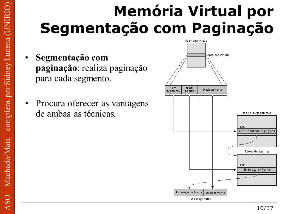 ASO – Machado/Maia – complem. por Sidney Lucena (UNIRIO) 10/37 Memória Virtual por Segmentação com Paginação Segmentação com paginação: realiza pagina