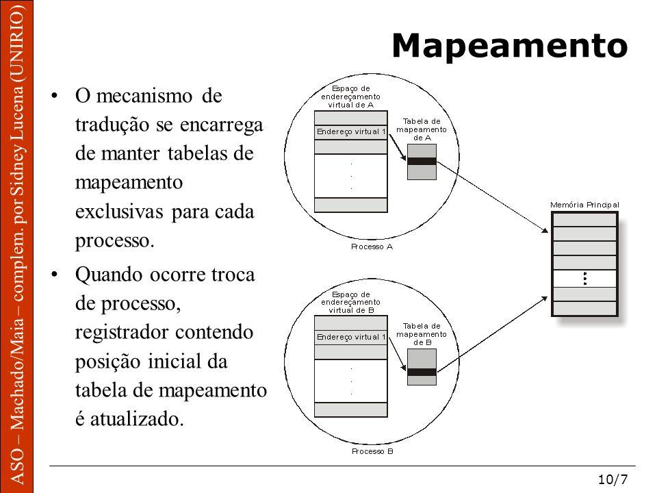 ASO – Machado/Maia – complem. por Sidney Lucena (UNIRIO) 10/7 Mapeamento O mecanismo de tradução se encarrega de manter tabelas de mapeamento exclusiv