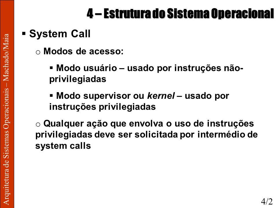 Arquitetura de Sistemas Operacionais – Machado/Maia 4 – Estrutura do Sistema Operacional System Call o Modos de acesso: Modo usuário – usado por instr