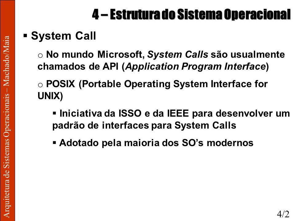 Arquitetura de Sistemas Operacionais – Machado/Maia 4 – Estrutura do Sistema Operacional System Call o No mundo Microsoft, System Calls são usualmente