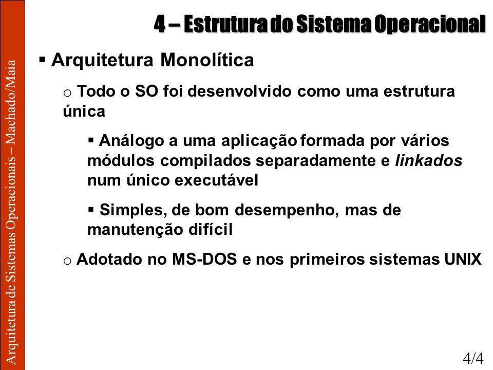 Arquitetura de Sistemas Operacionais – Machado/Maia 4 – Estrutura do Sistema Operacional Arquitetura Monolítica o Todo o SO foi desenvolvido como uma