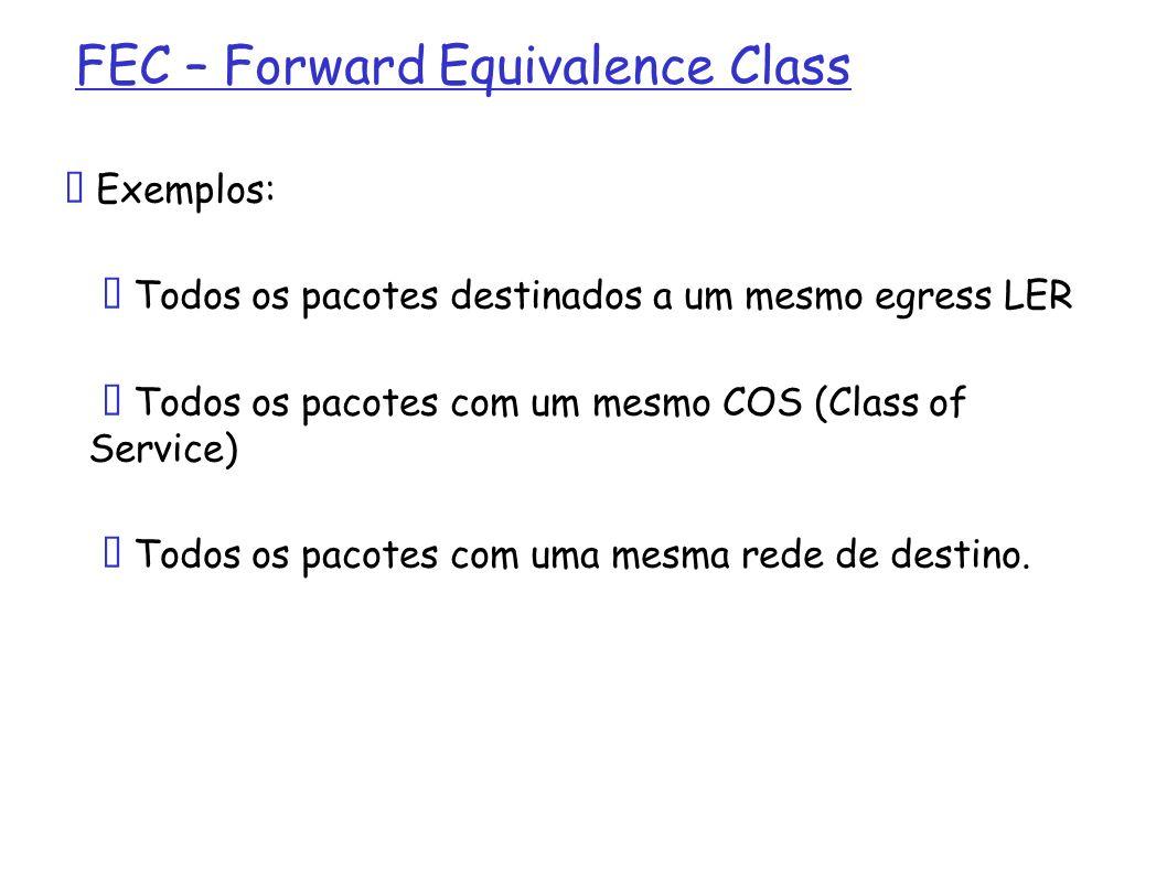 FEC – Forward Equivalence Class Exemplos: Todos os pacotes destinados a um mesmo egress LER Todos os pacotes com um mesmo COS (Class of Service) Todos