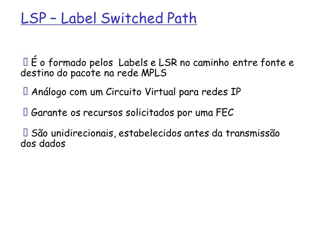LSP – Label Switched Path É o formado pelos Labels e LSR no caminho entre fonte e destino do pacote na rede MPLS Análogo com um Circuito Virtual para