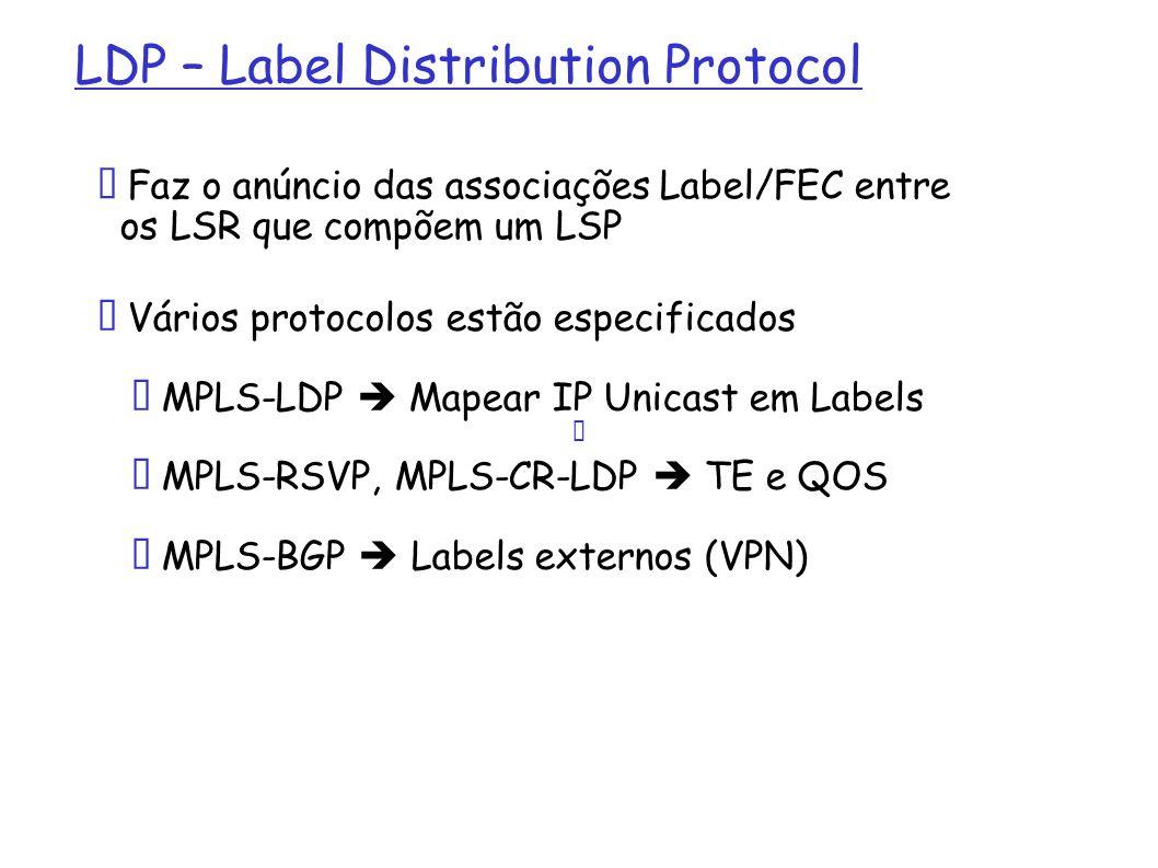 LDP – Label Distribution Protocol Faz o anúncio das associações Label/FEC entre os LSR que compõem um LSP Vários protocolos estão especificados MPLS-L